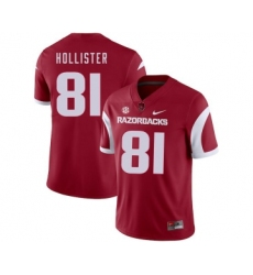 Arkansas Razorbacks 81 Cody Hollister Red College Football Jersey