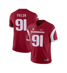 Arkansas Razorbacks 91 Darius Philon Red College Football Jersey