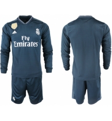 2018-19 Real Madrid Away Long Sleeve Soccer Jersey