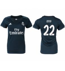 2018-19 Real Madrid 22 ISCO Away Women Soccer Jersey