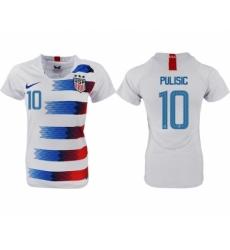 2018-19 USA 10 PULISIC Home Women Soccer Jersey