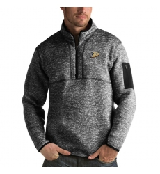 Men's Anaheim Ducks Antigua Fortune Quarter-Zip Pullover Jacket Charcoal