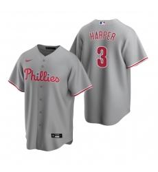 Men's Nike Philadelphia Phillies #3 Bryce Harper Gray Road Stitched Baseball Jersey