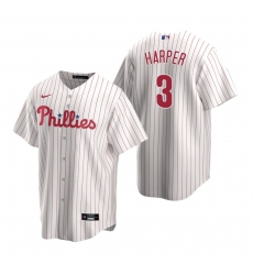 Men's Nike Philadelphia Phillies #3 Bryce Harper White Home Stitched Baseball Jersey