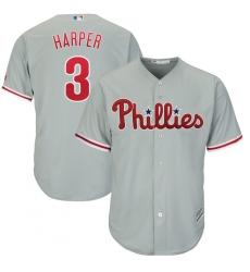 Men's Philadelphia Phillies #3 Bryce Harper Majestic Gray Official Cool Base Replica Player Jersey