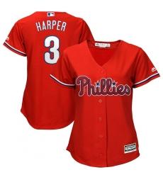 Women's Philadelphia Phillies #3 Bryce Harper Majestic Scarlet Cool Base RED Replica Player Jersey