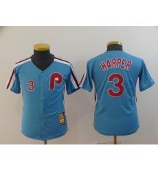 Youth Philadelphia Phillies #3 Bryce Harper Light Blue Alternate Jersey