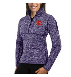 Calgary Flames Antigua Women's Fortune Zip Pullover Sweater Purple
