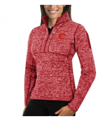 Calgary Flames Antigua Women's Fortune Zip Pullover Sweater Red
