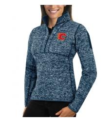 Calgary Flames Antigua Women's Fortune Zip Pullover Sweater Royal