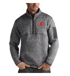 Men's Calgary Flames Antigua Fortune Quarter-Zip Pullover Jacket Black