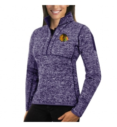 Chicago Blackhawks Antigua Women's Fortune Zip Pullover Sweater Purple