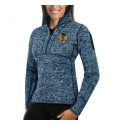 Chicago Blackhawks Antigua Women's Fortune Zip Pullover Sweater Royal