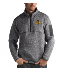 Men's Chicago Blackhawks Antigua Fortune Quarter-Zip Pullover Jacket Black