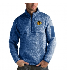 Men's Chicago Blackhawks Antigua Fortune Quarter-Zip Pullover Jacket Blue