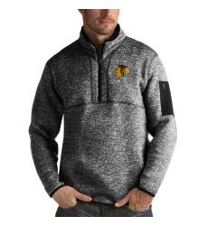 Men's Chicago Blackhawks Antigua Fortune Quarter-Zip Pullover Jacket Charcoal