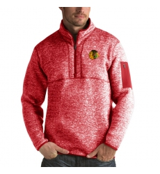 Men's Chicago Blackhawks Antigua Fortune Quarter-Zip Pullover Jacket Red