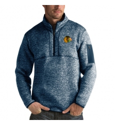 Men's Chicago Blackhawks Antigua Fortune Quarter-Zip Pullover Jacket Royal