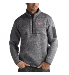 Men's Detroit Red Wings Antigua Fortune Quarter-Zip Pullover Jacket Black