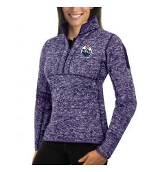 Edmonton Oilers Antigua Women's Fortune Zip Pullover Sweater Purple