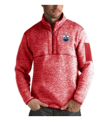 Men's Edmonton Oilers Antigua Fortune Quarter-Zip Pullover Jacket Red