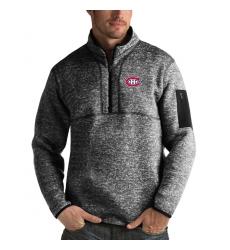 Men's Montreal Canadiens Antigua Fortune Quarter-Zip Pullover Jacket Charcoal