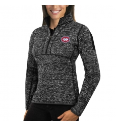 Montreal Canadiens Antigua Women's Fortune Zip Pullover Sweater Charcoal