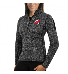 New Jersey Devils Antigua Women's Fortune Zip Pullover Sweater Charcoal