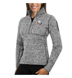 New York Islanders Antigua Women's Fortune Zip Pullover Sweater Black