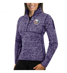 New York Islanders Antigua Women's Fortune Zip Pullover Sweater Purple