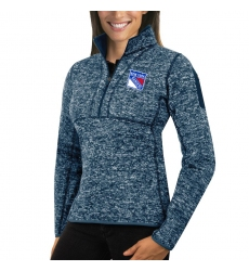 New York Rangers Antigua Women's Fortune Zip Pullover Sweater Royal