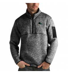 Men's San Jose Sharks Antigua Fortune Quarter-Zip Pullover Jacket Charcoal