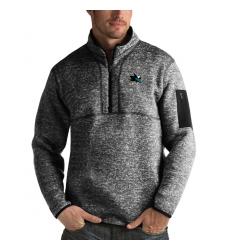 Men's San Jose Sharks Antigua Fortune Quarter-Zip Pullover Jacket Charcoal