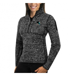 San Jose Sharks Antigua Women's Fortune Zip Pullover Sweater Charcoal
