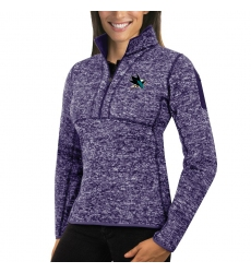 San Jose Sharks Antigua Women's Fortune Zip Pullover Sweater Purple