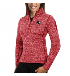 San Jose Sharks Antigua Women's Fortune Zip Pullover Sweater Red