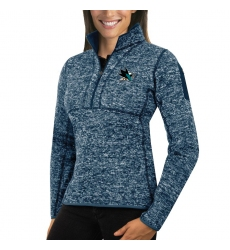 San Jose Sharks Antigua Women's Fortune Zip Pullover Sweater Royal