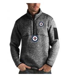 Men's Winnipeg Jets Antigua Fortune Quarter-Zip Pullover Jacket Charcoal