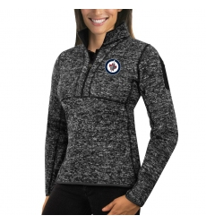 Winnipeg Jets Antigua Women's Fortune Zip Pullover Sweater Charcoal