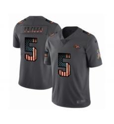 Men's Denver Broncos #5 Joe Flacco Limited Black USA Flag 2019 Salute To Service Football Jersey