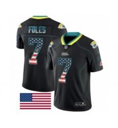 Men's Jacksonville Jaguars #7 Nick Foles Limited Black Rush USA Flag Football Jersey