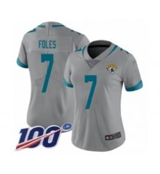 Women's Nike Jacksonville Jaguars #7 Nick Foles Silver Inverted Legend Limited 100th Season NFL Jersey