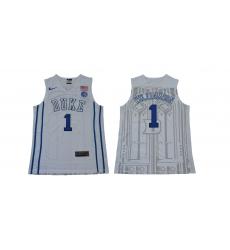 Duke Blue Devils #1 Zion Williamson White Basketball Stitched NCAA Jersey