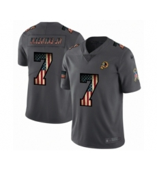 Men's Washington Redskins #7 Dwayne Haskins Limited Black USA Flag 2019 Salute To Service Football Jersey