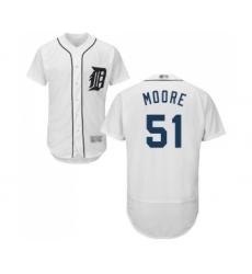Men's Detroit Tigers #51 Matt Moore White Home Flex Base Authentic Collection Baseball Jersey