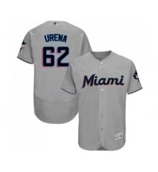 Men's Miami Marlins #62 Jose Urena Grey Road Flex Base Authentic Collection Baseball Jersey