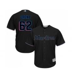 Men's Miami Marlins #62 Jose Urena Replica Black Alternate 2 Cool Base Baseball Jersey