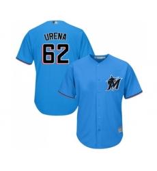 Men's Miami Marlins #62 Jose Urena Replica Blue Alternate 1 Cool Base Baseball Jersey