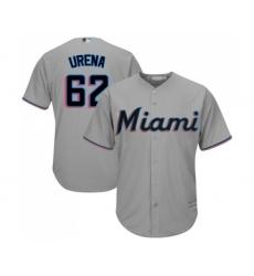 Men's Miami Marlins #62 Jose Urena Replica Grey Road Cool Base Baseball Jersey