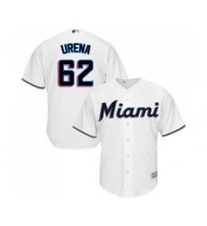 Men's Miami Marlins #62 Jose Urena Replica White Home Cool Base Baseball Jersey